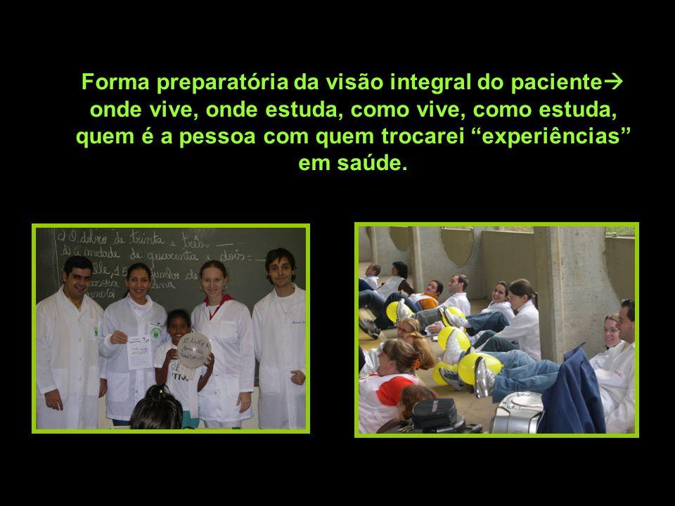 Forma preparatória da visão integral do paciente onde vive, onde estuda, como vive, como estuda, quem é a pessoa com quem trocarei experiências em saú