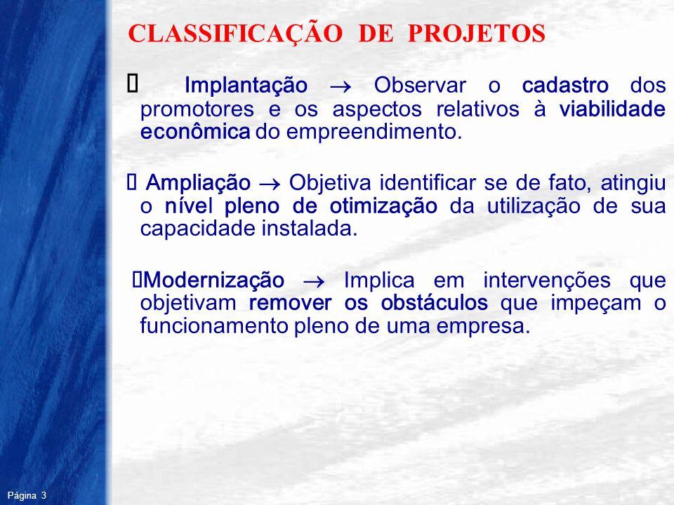 Página 3 R CLASSIFICAÇÃO DE PROJETOS Implantação Observar o cadastro dos promotores e os aspectos relativos à viabilidade econômica do empreendimento.