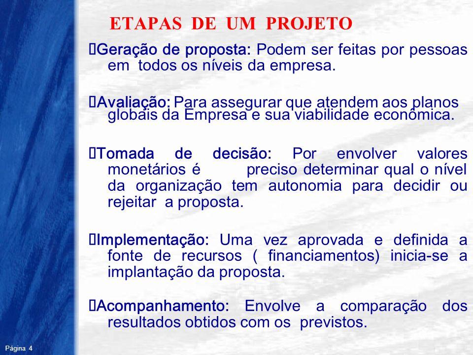 Página 4 R ETAPAS DE UM PROJETO Geração de proposta: Podem ser feitas por pessoas em todos os níveis da empresa. Avaliação: Para assegurar que atendem