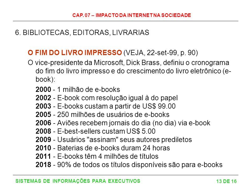 CAP.07 – IMPACTO DA INTERNET NA SOCIEDADE 13 DE 16 SISTEMAS DE INFORMAÇÕES PARA EXECUTIVOS 6.