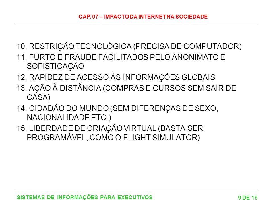 CAP.07 – IMPACTO DA INTERNET NA SOCIEDADE 9 DE 16 SISTEMAS DE INFORMAÇÕES PARA EXECUTIVOS 10.