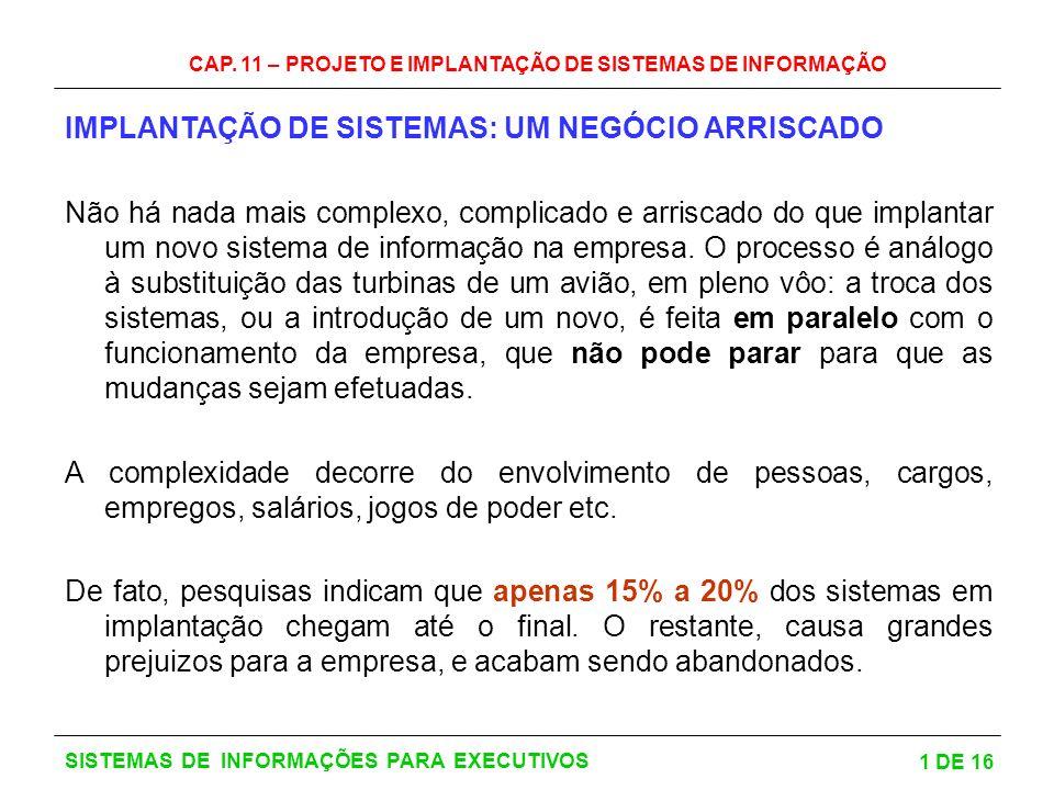 CAP. 11 – PROJETO E IMPLANTAÇÃO DE SISTEMAS DE INFORMAÇÃO 1 DE 16 SISTEMAS DE INFORMAÇÕES PARA EXECUTIVOS IMPLANTAÇÃO DE SISTEMAS: UM NEGÓCIO ARRISCAD