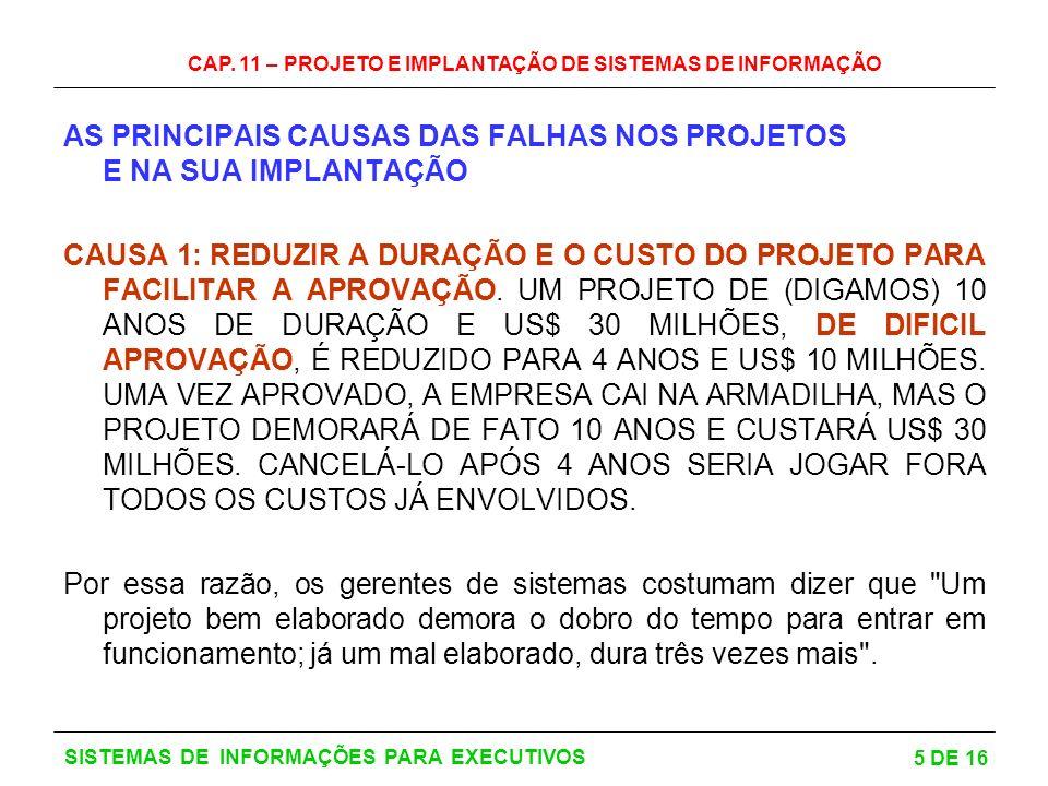 CAP. 11 – PROJETO E IMPLANTAÇÃO DE SISTEMAS DE INFORMAÇÃO 5 DE 16 SISTEMAS DE INFORMAÇÕES PARA EXECUTIVOS AS PRINCIPAIS CAUSAS DAS FALHAS NOS PROJETOS