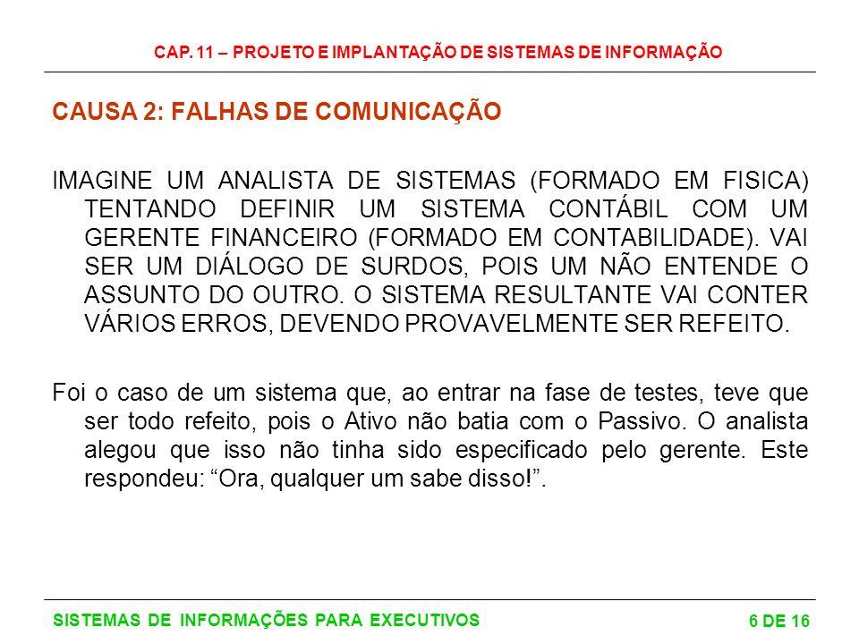 CAP. 11 – PROJETO E IMPLANTAÇÃO DE SISTEMAS DE INFORMAÇÃO 6 DE 16 SISTEMAS DE INFORMAÇÕES PARA EXECUTIVOS CAUSA 2: FALHAS DE COMUNICAÇÃO IMAGINE UM AN