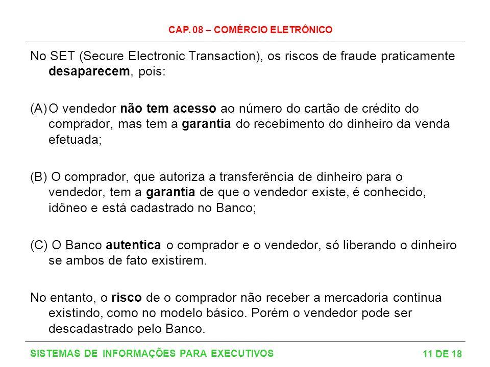 CAP. 08 – COMÉRCIO ELETRÔNICO 11 DE 18 SISTEMAS DE INFORMAÇÕES PARA EXECUTIVOS No SET (Secure Electronic Transaction), os riscos de fraude praticament