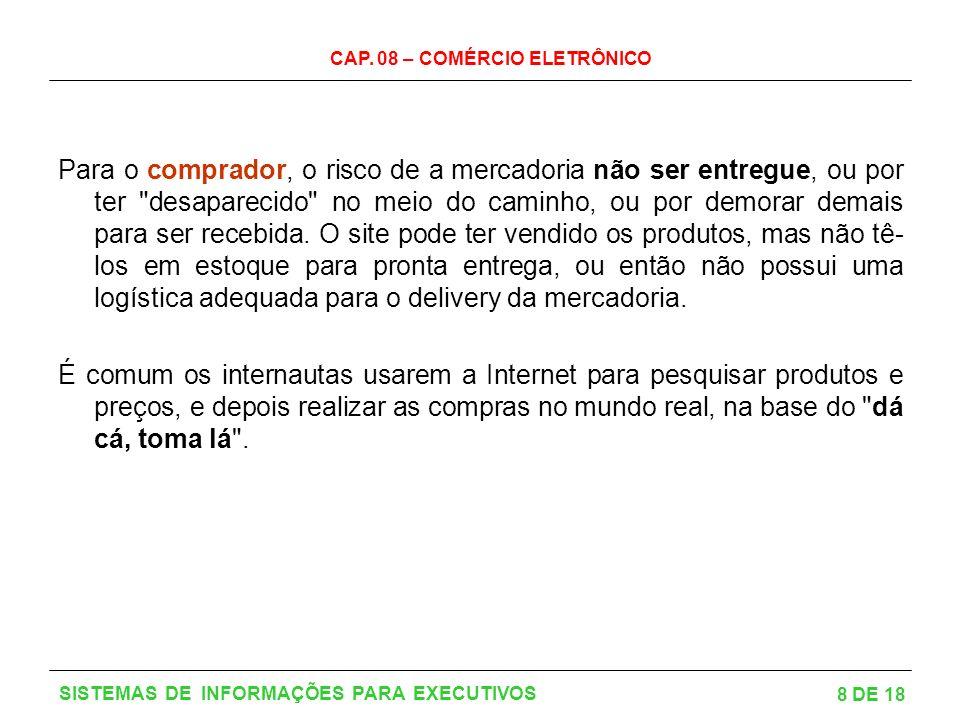 CAP. 08 – COMÉRCIO ELETRÔNICO 8 DE 18 SISTEMAS DE INFORMAÇÕES PARA EXECUTIVOS Para o comprador, o risco de a mercadoria não ser entregue, ou por ter