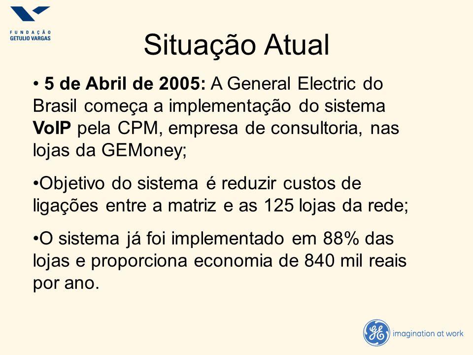 Situação Atual 5 de Abril de 2005: A General Electric do Brasil começa a implementação do sistema VoIP pela CPM, empresa de consultoria, nas lojas da