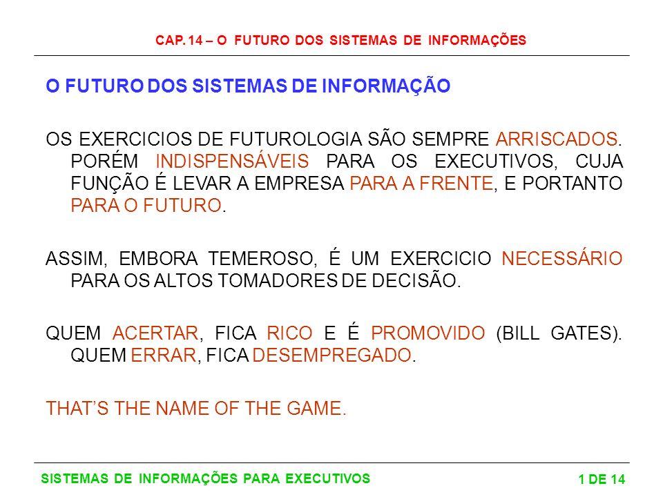 CAP. 14 – O FUTURO DOS SISTEMAS DE INFORMAÇÕES 1 DE 14 SISTEMAS DE INFORMAÇÕES PARA EXECUTIVOS O FUTURO DOS SISTEMAS DE INFORMAÇÃO OS EXERCICIOS DE FU