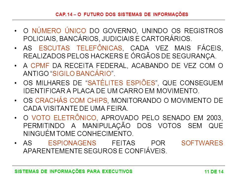 CAP. 14 – O FUTURO DOS SISTEMAS DE INFORMAÇÕES 11 DE 14 SISTEMAS DE INFORMAÇÕES PARA EXECUTIVOS O NÚMERO ÚNICO DO GOVERNO, UNINDO OS REGISTROS POLICIA