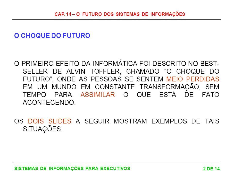 CAP. 14 – O FUTURO DOS SISTEMAS DE INFORMAÇÕES 2 DE 14 SISTEMAS DE INFORMAÇÕES PARA EXECUTIVOS O CHOQUE DO FUTURO O PRIMEIRO EFEITO DA INFORMÁTICA FOI