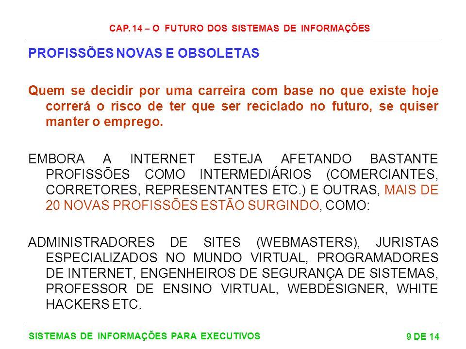 CAP. 14 – O FUTURO DOS SISTEMAS DE INFORMAÇÕES 9 DE 14 SISTEMAS DE INFORMAÇÕES PARA EXECUTIVOS PROFISSÕES NOVAS E OBSOLETAS Quem se decidir por uma ca
