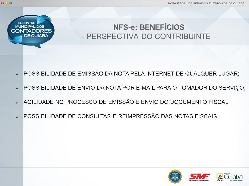 NFS-e: BENEFÍCIOS - PERSPECTIVA TÉCNICA - POSSIBILIDADE DE INTEGRAÇÃO DOS SISTEMAS DE EMISSÃO DE NOTAS DO CONTRIBUINTE COM O SISTEMA DE NOTAS ELETRÔNICAS DO MUNICÍPIO ATRAVÉS DO WEBSERVICE; DISPONIBILIDADE DE CONSULTA PÚBLICA DE VERIFICAÇÃO DE VALIDADE E AUTENTICIDADE DAS NOTAS ELETRÔNICAS EMITIDAS; PLANO DE CONTINGÊNCIA ATRAVÉS DE EMISSÃO DE RECIBOS PROVISÓRIOS EM CASO DE INDISPONIBILIDADE DO SISTEMA DE NOTAS ELETRÔNICAS; REDUÇÃO DE ERROS DE ESCRITURAÇÃO DEVIDO A ERROS DE DIGITAÇÃO DE NOTAS FISCAIS.