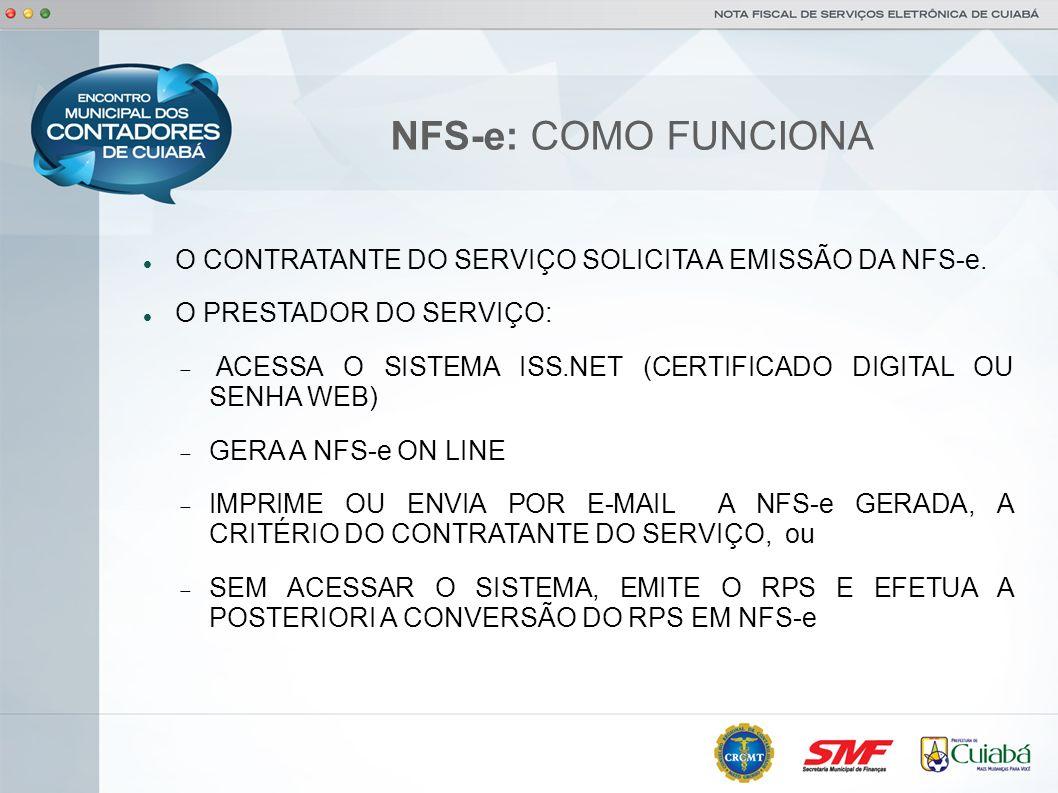 NFS-e: COMO FUNCIONA O CONTRATANTE DO SERVIÇO SOLICITA A EMISSÃO DA NFS-e. O PRESTADOR DO SERVIÇO: ACESSA O SISTEMA ISS.NET (CERTIFICADO DIGITAL OU SE