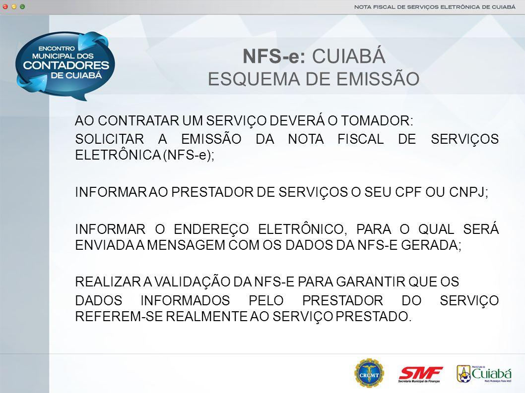 NFS-e: CUIABÁ ESQUEMA DE EMISSÃO AO CONTRATAR UM SERVIÇO DEVERÁ O TOMADOR: SOLICITAR A EMISSÃO DA NOTA FISCAL DE SERVIÇOS ELETRÔNICA (NFS-e); INFORMAR