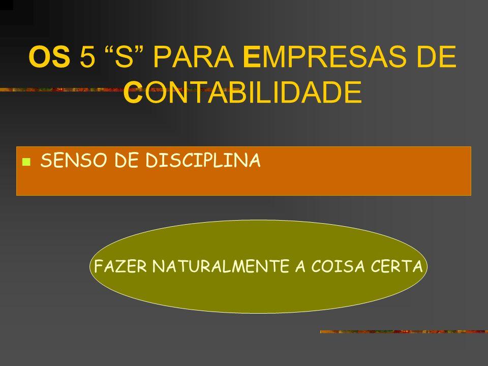 OS 5 S PARA EMPRESAS DE CONTABILIDADE SENSO DE DISCIPLINA FAZER NATURALMENTE A COISA CERTA