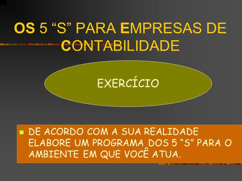 OS 5 S PARA EMPRESAS DE CONTABILIDADE DE ACORDO COM A SUA REALIDADE ELABORE UM PROGRAMA DOS 5 S PARA O AMBIENTE EM QUE VOCÊ ATUA. EXERCÍCIO