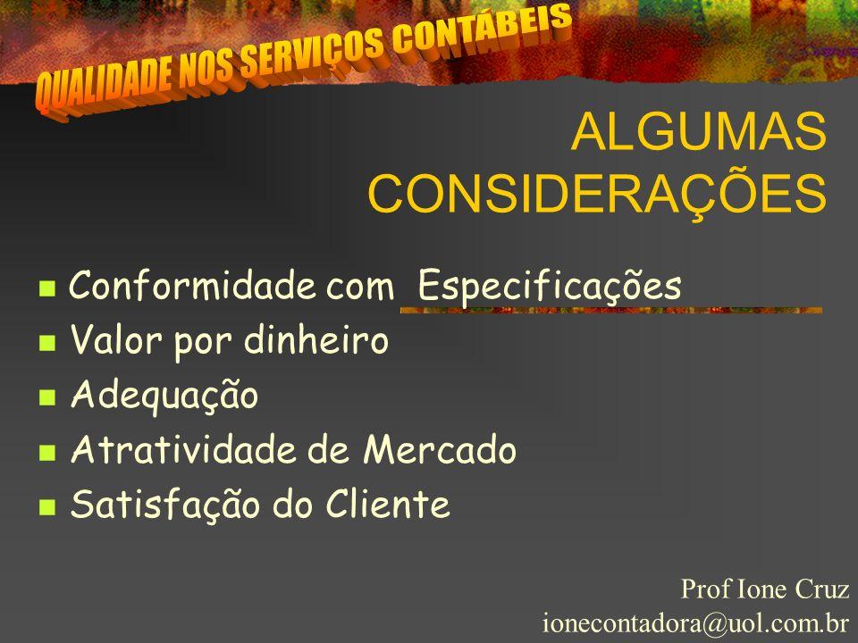 ALGUMAS CONSIDERAÇÕES Prof Ione Cruz ionecontadora@uol.com.br Conformidade com Especificações Valor por dinheiro Adequação Atratividade de Mercado Sat