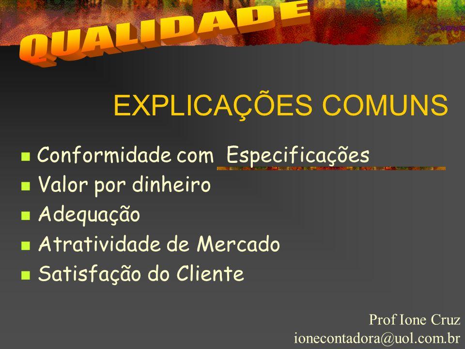 EXPLICAÇÕES COMUNS Prof Ione Cruz ionecontadora@uol.com.br Conformidade com Especificações Valor por dinheiro Adequação Atratividade de Mercado Satisf