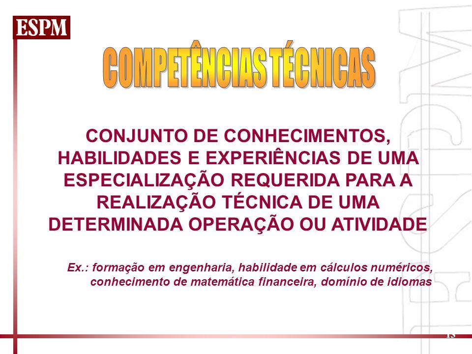 13 CONJUNTO DE CONHECIMENTOS, HABILIDADES E EXPERIÊNCIAS DE UMA ESPECIALIZAÇÃO REQUERIDA PARA A REALIZAÇÃO TÉCNICA DE UMA DETERMINADA OPERAÇÃO OU ATIVIDADE Ex.: formação em engenharia, habilidade em cálculos numéricos, conhecimento de matemática financeira, domínio de idiomas