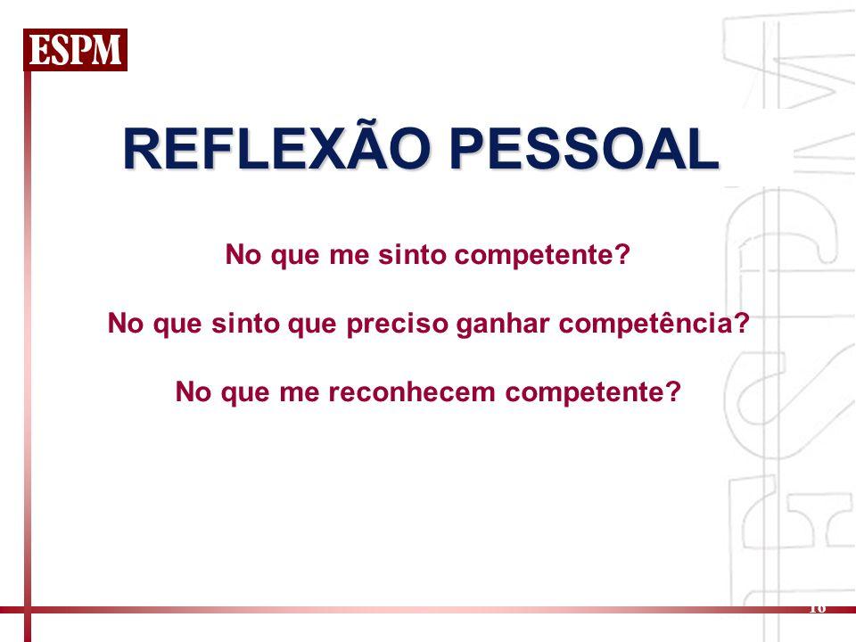 16 No que me sinto competente? No que sinto que preciso ganhar competência? No que me reconhecem competente? REFLEXÃO PESSOAL