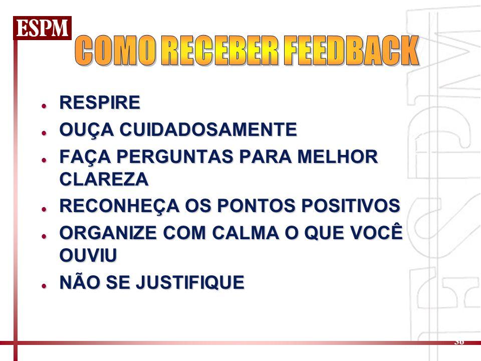 36 RESPIRE RESPIRE OUÇA CUIDADOSAMENTE OUÇA CUIDADOSAMENTE FAÇA PERGUNTAS PARA MELHOR CLAREZA FAÇA PERGUNTAS PARA MELHOR CLAREZA RECONHEÇA OS PONTOS POSITIVOS RECONHEÇA OS PONTOS POSITIVOS ORGANIZE COM CALMA O QUE VOCÊ OUVIU ORGANIZE COM CALMA O QUE VOCÊ OUVIU NÃO SE JUSTIFIQUE NÃO SE JUSTIFIQUE