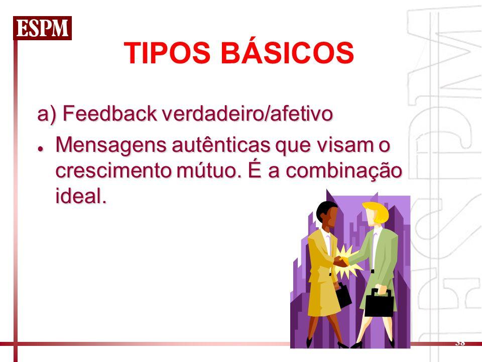 38 TIPOS BÁSICOS a) Feedback verdadeiro/afetivo Mensagens autênticas que visam o crescimento mútuo. É a combinação ideal. Mensagens autênticas que vis