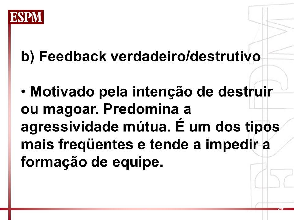 39 b) Feedback verdadeiro/destrutivo Motivado pela intenção de destruir ou magoar. Predomina a agressividade mútua. É um dos tipos mais freqüentes e t