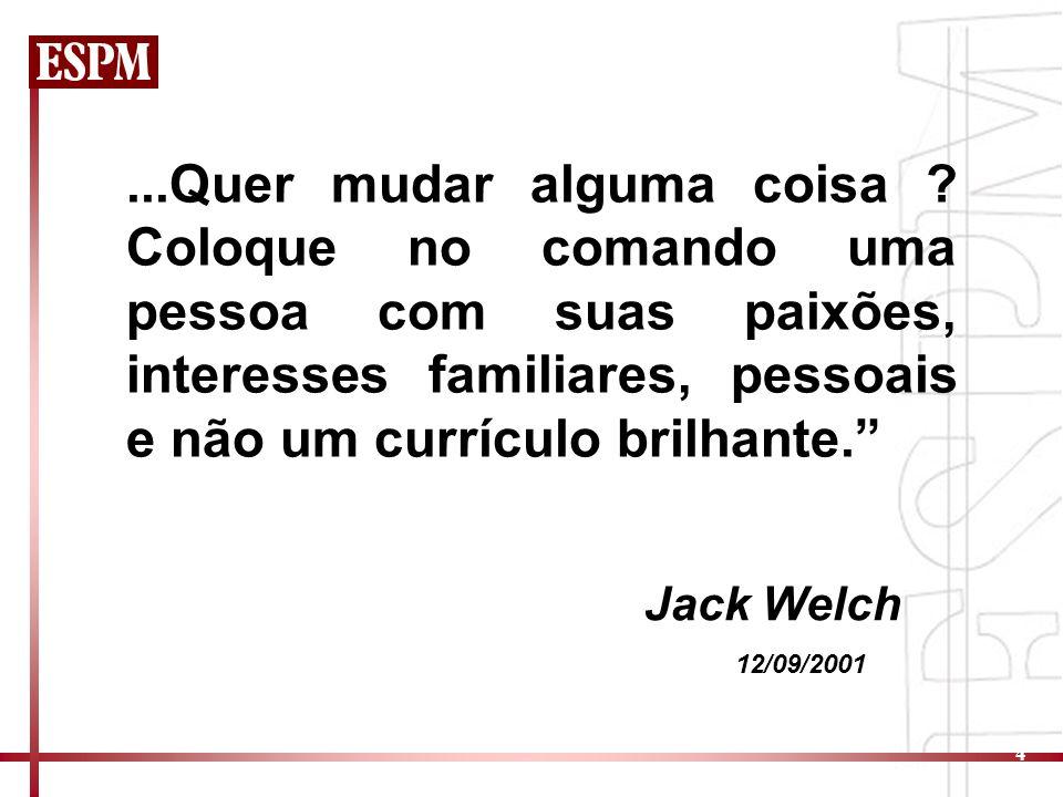 4...Quer mudar alguma coisa ? Coloque no comando uma pessoa com suas paixões, interesses familiares, pessoais e não um currículo brilhante. Jack Welch