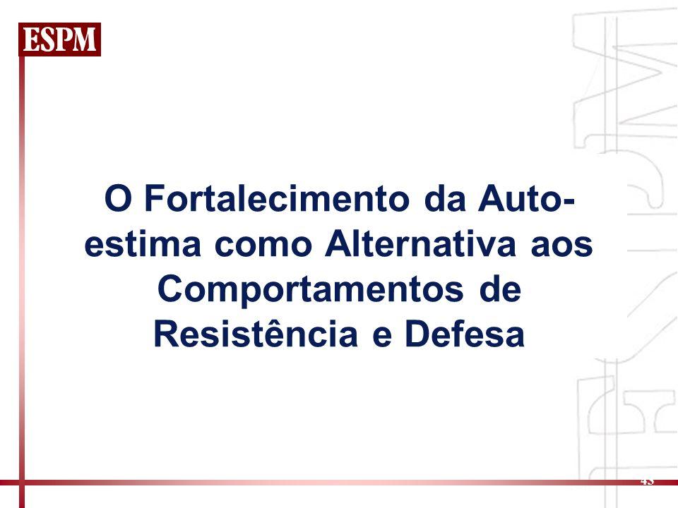 43 O Fortalecimento da Auto- estima como Alternativa aos Comportamentos de Resistência e Defesa