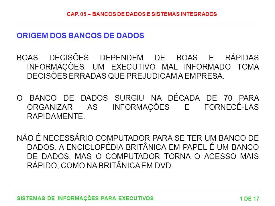 CAP. 05 – BANCOS DE DADOS E SISTEMAS INTEGRADOS 1 DE 17 SISTEMAS DE INFORMAÇÕES PARA EXECUTIVOS ORIGEM DOS BANCOS DE DADOS BOAS DECISÕES DEPENDEM DE B