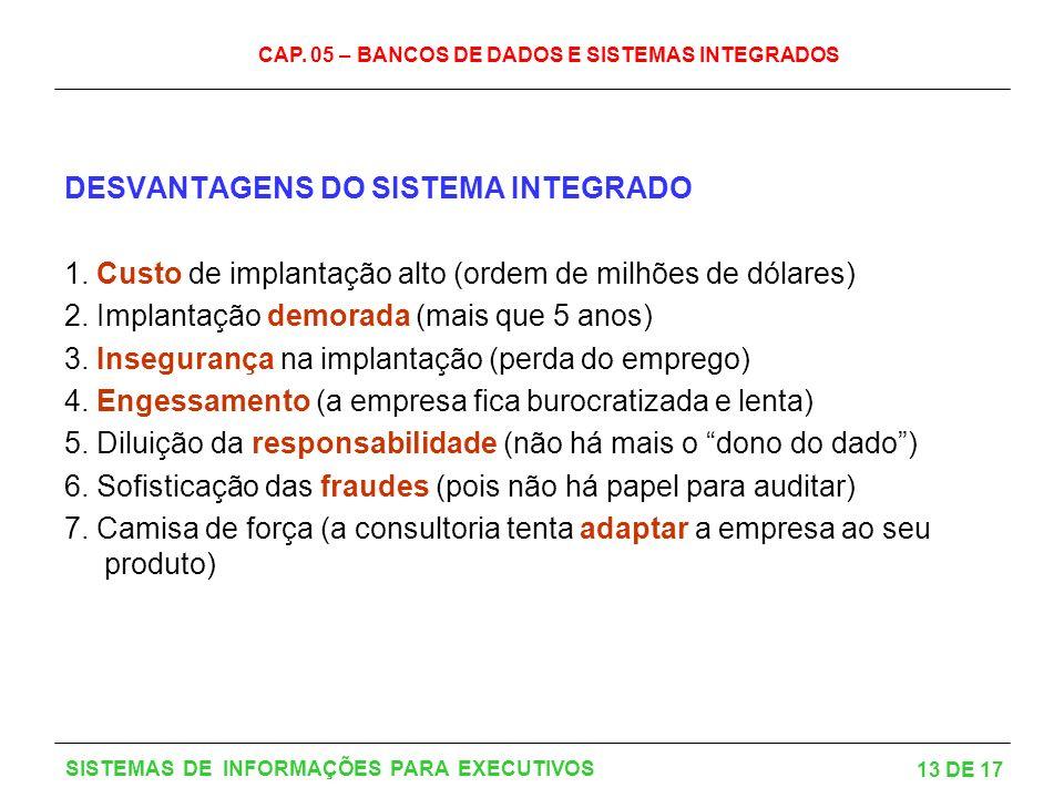 CAP. 05 – BANCOS DE DADOS E SISTEMAS INTEGRADOS 13 DE 17 SISTEMAS DE INFORMAÇÕES PARA EXECUTIVOS DESVANTAGENS DO SISTEMA INTEGRADO 1. Custo de implant