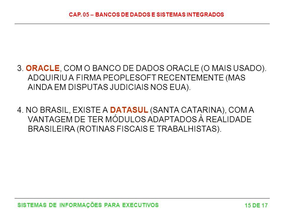 CAP. 05 – BANCOS DE DADOS E SISTEMAS INTEGRADOS 15 DE 17 SISTEMAS DE INFORMAÇÕES PARA EXECUTIVOS 3. ORACLE, COM O BANCO DE DADOS ORACLE (O MAIS USADO)