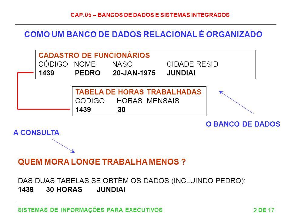 CAP. 05 – BANCOS DE DADOS E SISTEMAS INTEGRADOS 2 DE 17 SISTEMAS DE INFORMAÇÕES PARA EXECUTIVOS COMO UM BANCO DE DADOS RELACIONAL É ORGANIZADO CADASTR