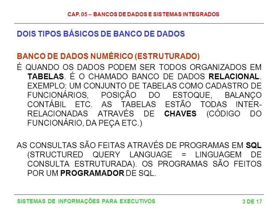 CAP. 05 – BANCOS DE DADOS E SISTEMAS INTEGRADOS 3 DE 17 SISTEMAS DE INFORMAÇÕES PARA EXECUTIVOS DOIS TIPOS BÁSICOS DE BANCO DE DADOS BANCO DE DADOS NU