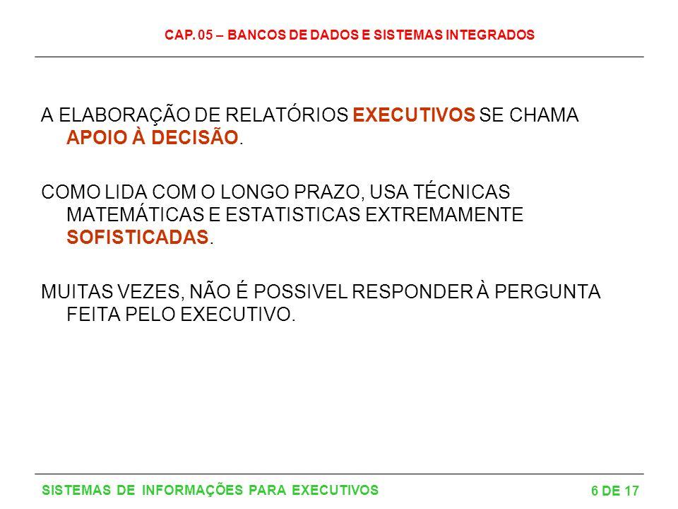 CAP. 05 – BANCOS DE DADOS E SISTEMAS INTEGRADOS 6 DE 17 SISTEMAS DE INFORMAÇÕES PARA EXECUTIVOS A ELABORAÇÃO DE RELATÓRIOS EXECUTIVOS SE CHAMA APOIO À