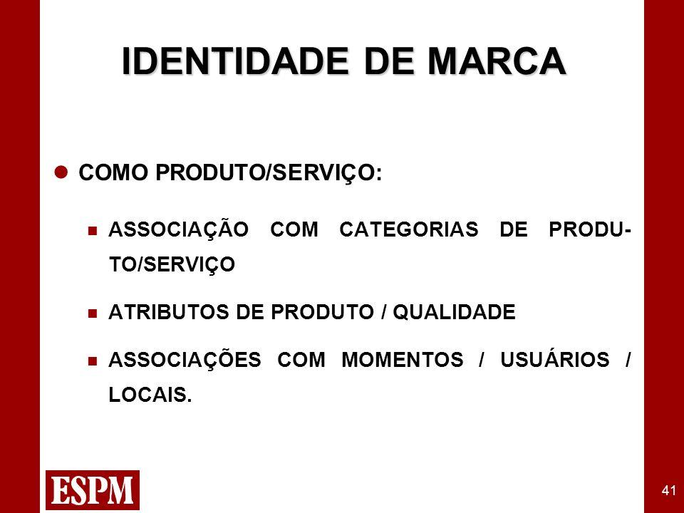41 IDENTIDADE DE MARCA COMO PRODUTO/SERVIÇO: ASSOCIAÇÃO COM CATEGORIAS DE PRODU- TO/SERVIÇO ATRIBUTOS DE PRODUTO / QUALIDADE ASSOCIAÇÕES COM MOMENTOS / USUÁRIOS / LOCAIS.
