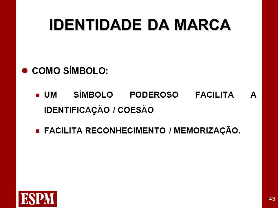 43 IDENTIDADE DA MARCA COMO SÍMBOLO: UM SÍMBOLO PODEROSO FACILITA A IDENTIFICAÇÃO / COESÃO FACILITA RECONHECIMENTO / MEMORIZAÇÃO.