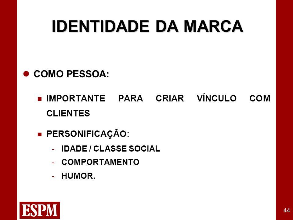 44 IDENTIDADE DA MARCA COMO PESSOA: IMPORTANTE PARA CRIAR VÍNCULO COM CLIENTES PERSONIFICAÇÃO: - IDADE / CLASSE SOCIAL - COMPORTAMENTO - HUMOR.