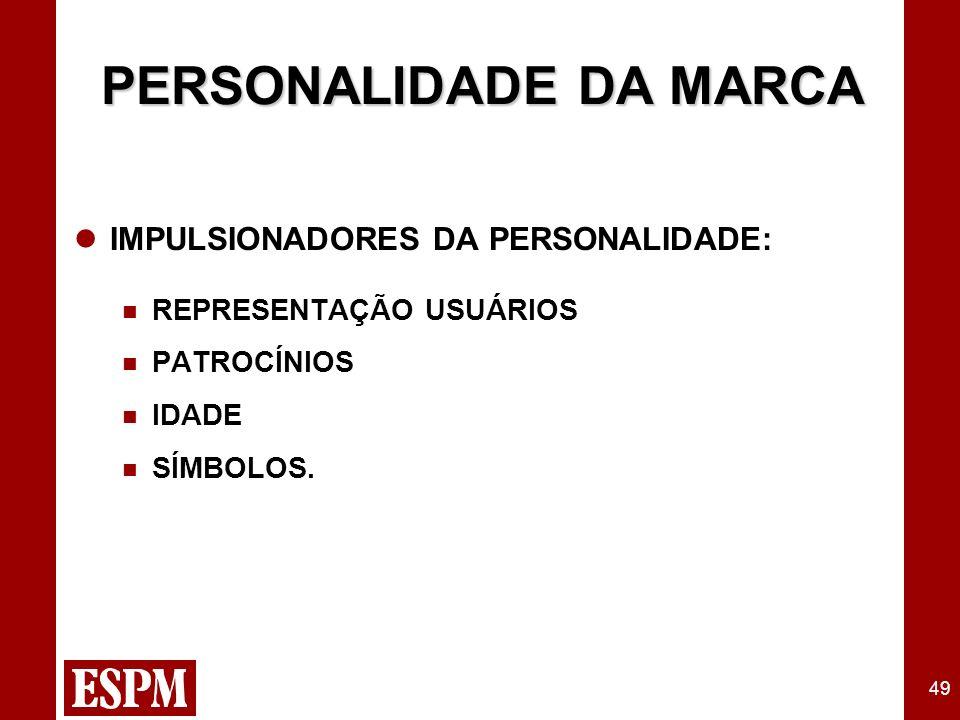 49 PERSONALIDADE DA MARCA IMPULSIONADORES DA PERSONALIDADE: REPRESENTAÇÃO USUÁRIOS PATROCÍNIOS IDADE SÍMBOLOS.