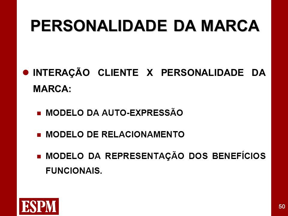 50 PERSONALIDADE DA MARCA INTERAÇÃO CLIENTE X PERSONALIDADE DA MARCA: MODELO DA AUTO-EXPRESSÃO MODELO DE RELACIONAMENTO MODELO DA REPRESENTAÇÃO DOS BENEFÍCIOS FUNCIONAIS.