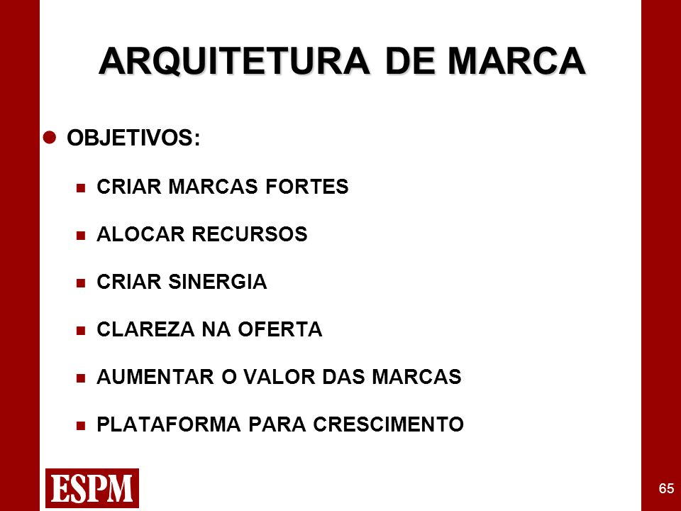 65 ARQUITETURA DE MARCA OBJETIVOS: CRIAR MARCAS FORTES ALOCAR RECURSOS CRIAR SINERGIA CLAREZA NA OFERTA AUMENTAR O VALOR DAS MARCAS PLATAFORMA PARA CR