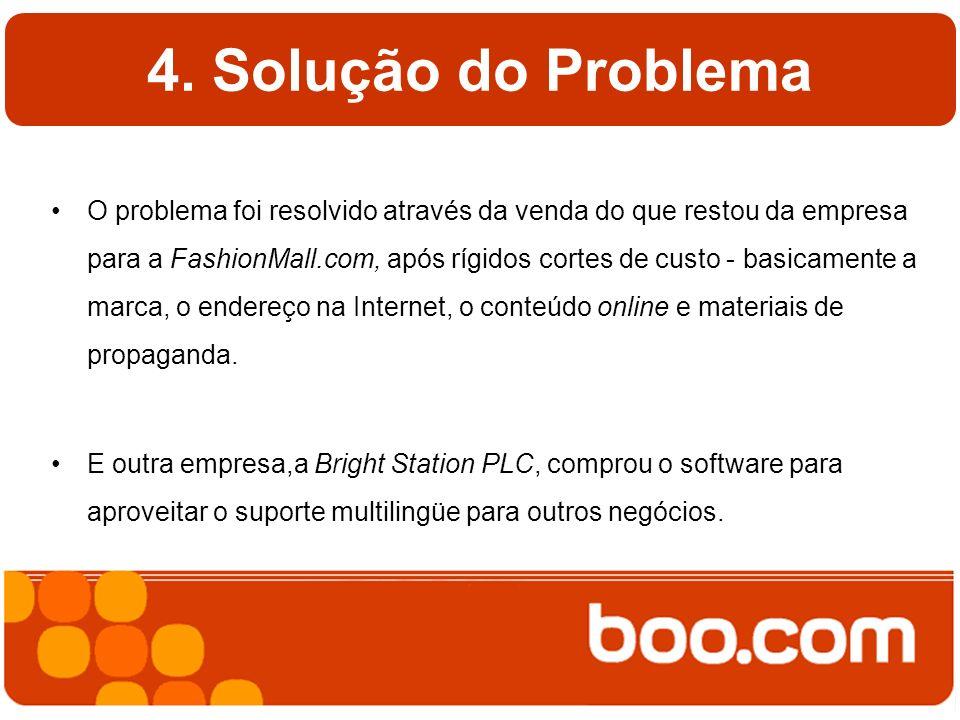 4. Solução do Problema O problema foi resolvido através da venda do que restou da empresa para a FashionMall.com, após rígidos cortes de custo - basic