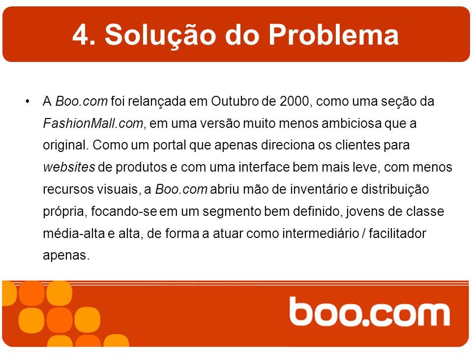 4. Solução do Problema A Boo.com foi relançada em Outubro de 2000, como uma seção da FashionMall.com, em uma versão muito menos ambiciosa que a origin