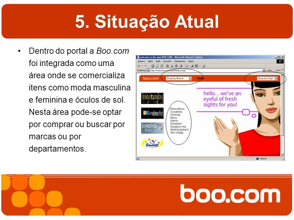 5. Situação Atual Dentro do portal a Boo.com foi integrada como uma área onde se comercializa itens como moda masculina e feminina e óculos de sol. Ne