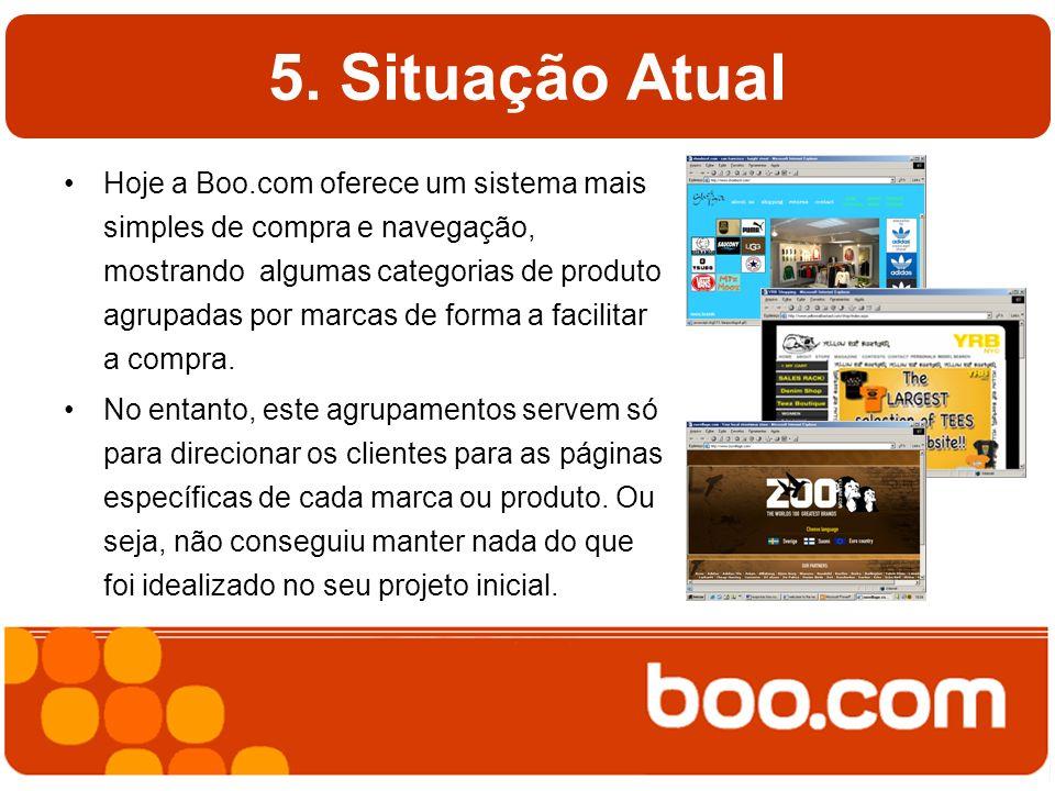 5. Situação Atual Hoje a Boo.com oferece um sistema mais simples de compra e navegação, mostrando algumas categorias de produto agrupadas por marcas d