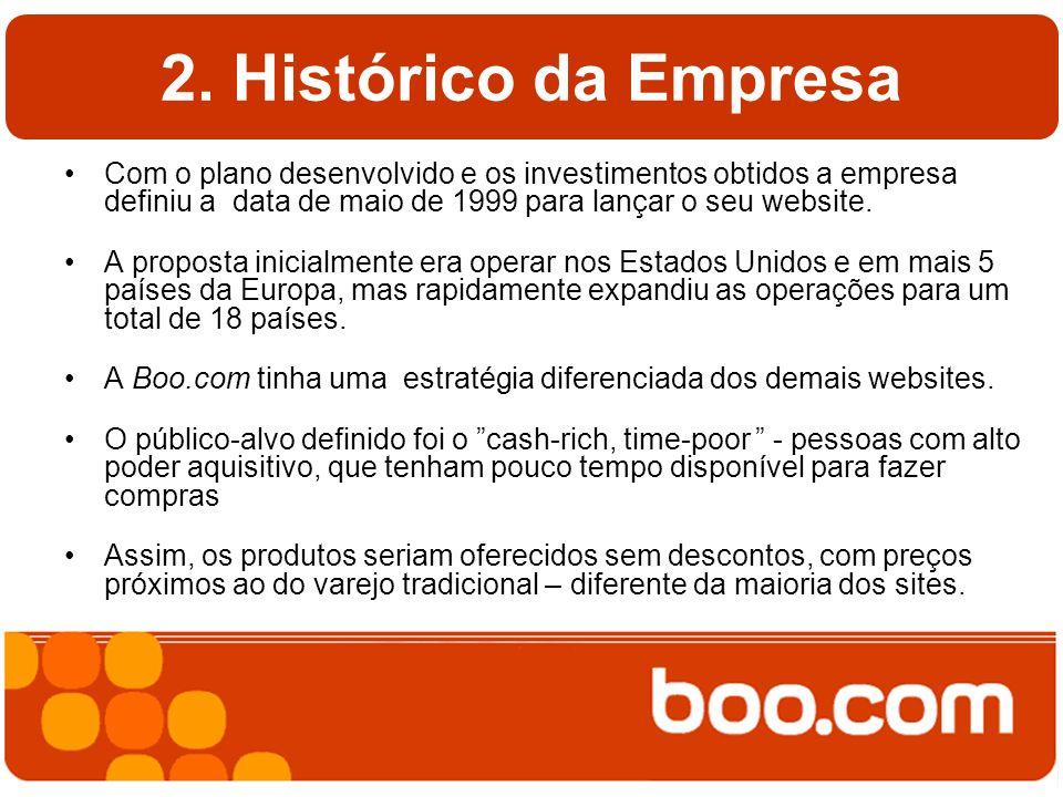 2. Histórico da Empresa Com o plano desenvolvido e os investimentos obtidos a empresa definiu a data de maio de 1999 para lançar o seu website. A prop