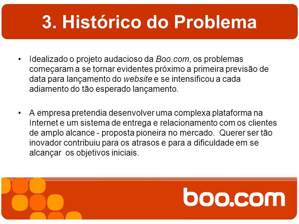 3. Histórico do Problema Idealizado o projeto audacioso da Boo.com, os problemas começaram a se tornar evidentes próximo a primeira previsão de data p