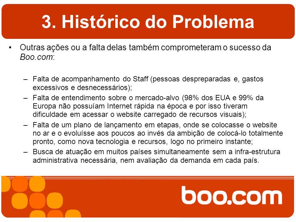 3. Histórico do Problema Outras ações ou a falta delas também comprometeram o sucesso da Boo.com: –Falta de acompanhamento do Staff (pessoas desprepar