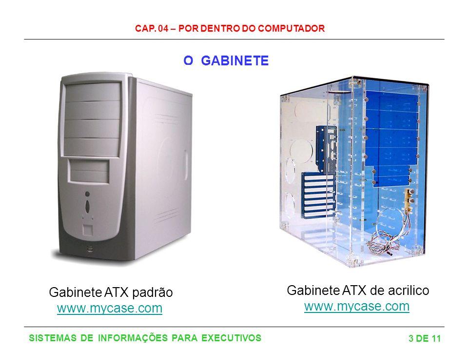 CAP. 04 – POR DENTRO DO COMPUTADOR 3 DE 11 SISTEMAS DE INFORMAÇÕES PARA EXECUTIVOS O GABINETE Gabinete ATX padrão www.mycase.com www.mycase.com Gabine