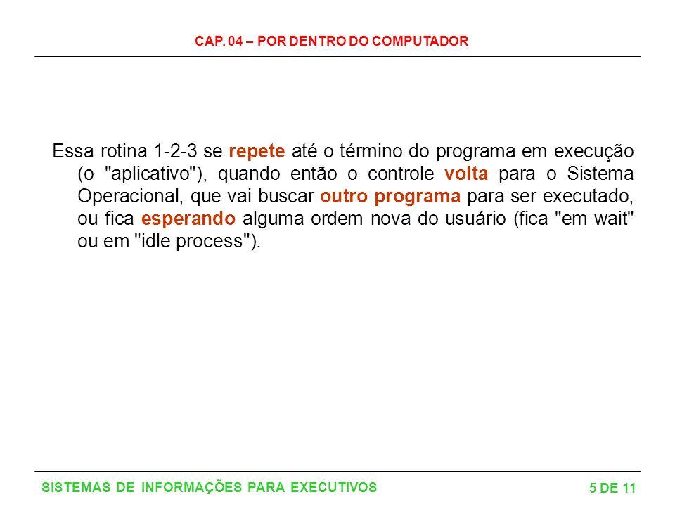 CAP. 04 – POR DENTRO DO COMPUTADOR 5 DE 11 SISTEMAS DE INFORMAÇÕES PARA EXECUTIVOS Essa rotina 1-2-3 se repete até o término do programa em execução (